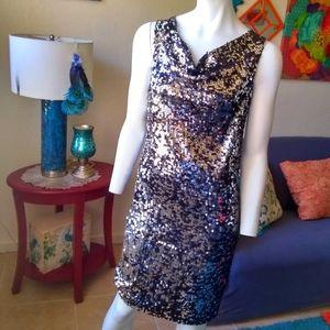 Olivia Matthews Black/Silver Sequin Dress